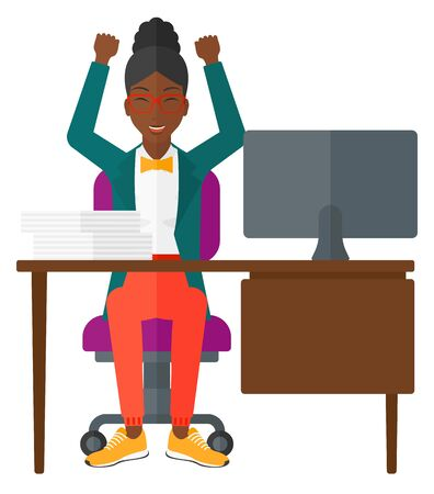 happy employees: An african-american woman with raised hands working at workplace vector flat design illustration isolated on white background. Illustration