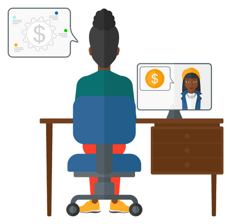 An african-american woman sitting in the office and talking with other woman using video chat vector flat design illustration isolated on white background.