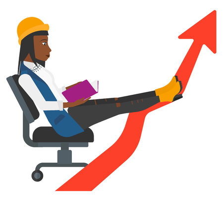 lay: An african-american business woman sitting in chair with a book in hands while her legs lay on an uprising arrow vector flat design illustration isolated on white background.