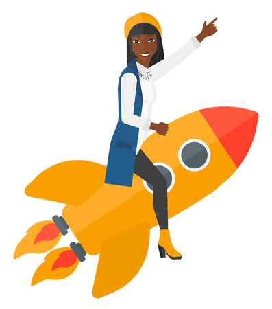 woman pointing up: An african-american woman flying on the rocket with a forefinger pointing up vector flat design illustration isolated on white background.