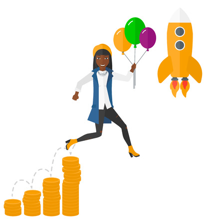An african-american business woman with balloons flying over golden coins graphs and a rocket flying nearby vector flat design illustration isolated on white background.