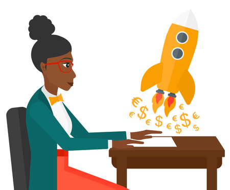 An african-american successful woman sitting at the table and looking at a rocket with money taking off the paper vector flat design illustration isolated on white background.