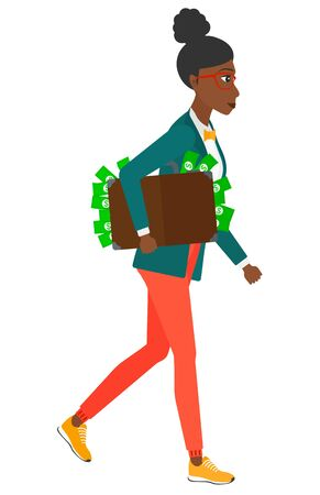 bribery: An african-american business woman walking with suitcase full of money vector flat design illustration isolated on white background.