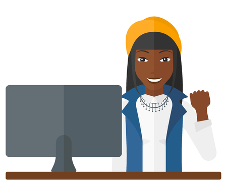 An african-american business woman expressing great satisfaction while looking at a computer monitor vector flat design illustration isolated on white background. Illustration
