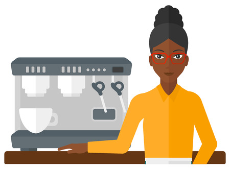 manager: A barista standing near coffee maker vector flat design illustration isolated on white background.