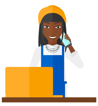 retailer: An african-american woman taking an order by phone vector flat design illustration isolated on white background. Illustration