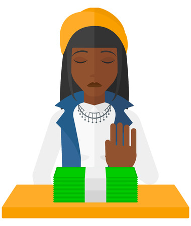 denial: An african-american  woman moving dollar bills away and refusing to take a bribe vector flat design illustration isolated on white background. Illustration