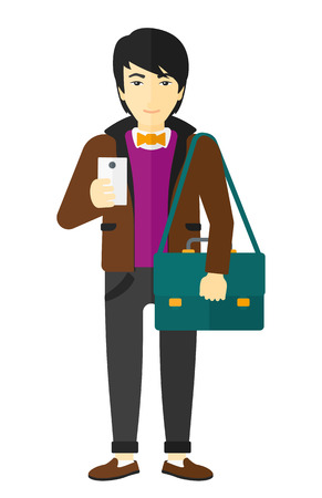 An asian man using a smartphone vector flat design illustration isolated on white background. Illustration