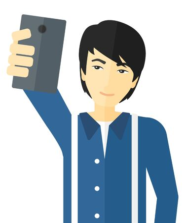 An asian man making selfie vector flat design illustration isolated on white background.