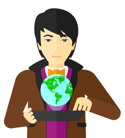 computer model: An asian man standing with a tablet computer in hands and a model of globe above the device vector flat design illustration isolated on white background.