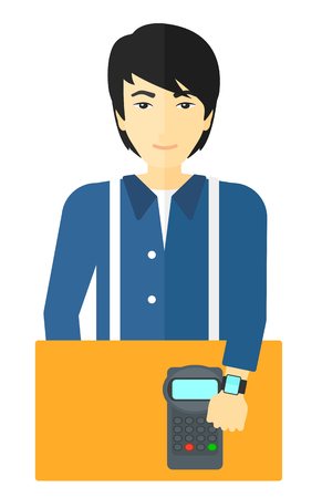An asian man with smart watch on the wrist making payment transaction vector flat design illustration isolated on white background.