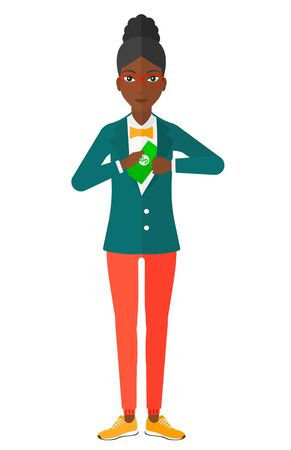 putting: An african-american business woman putting money in her pocket vector flat design illustration isolated on white background.