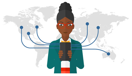smart phone woman: An african-american woman holding smartphone connected with the whole world vector flat design illustration isolated on white background.