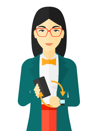 smart woman: An asian woman holding a smartphone and looking at her smart watch vector flat design illustration isolated on white background.