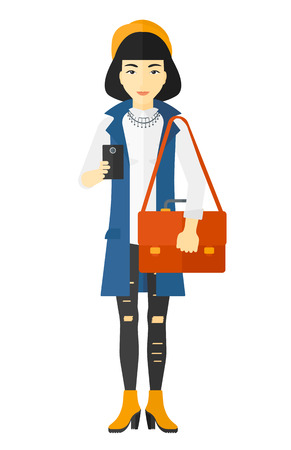 An asian woman using a smartphone vector flat design illustration isolated on white background.