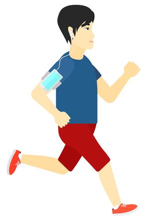 telefono caricatura: Un entrenamiento de libros de Asia con auriculares y un tel�fono inteligente brazalete ilustraci�n vectorial dise�o plano aislado en el fondo blanco.