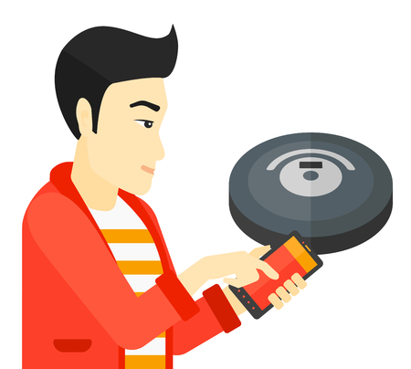 controlling: An asian man controlling robot vacuum cleaner with his smartphone vector flat design illustration isolated on white background.
