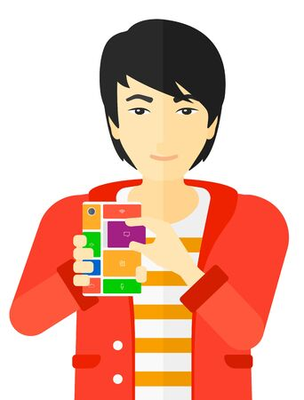 modular: An asian man with modular phone vector flat design illustration isolated on white background.