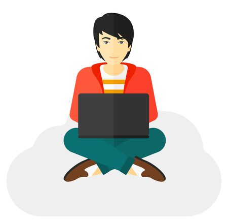 asian man laptop: An asian man sitting on a cloud with a laptop on knees vector flat design illustration isolated on white background.