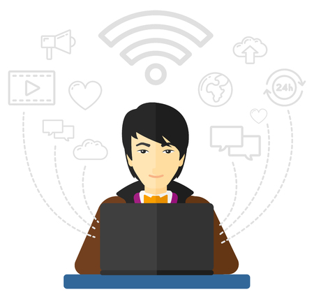 asian man laptop: An asian man working on a laptop and social computer network icons above him vector flat design illustration isolated on white background.