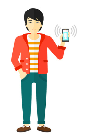 vibrating: An asian man holding vibrating smartphone vector flat design illustration isolated on white background.