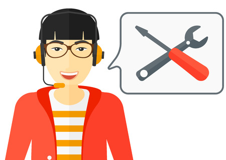 customer service phone: An asian operator of technical support with headphone set and speech square vector flat design illustration isolated on white background.