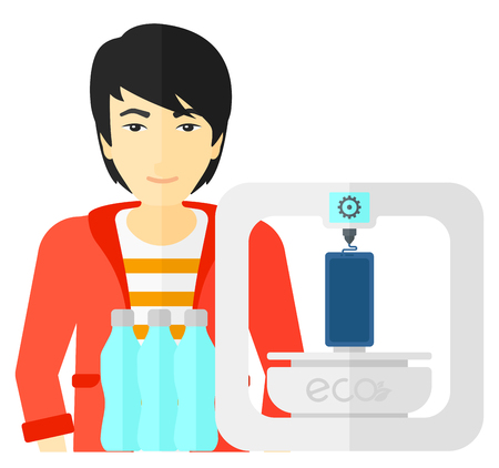 using smartphone: An asian man standing near 3D printer making a smartphone using recycled plastic vector flat design illustration isolated on white background. Illustration