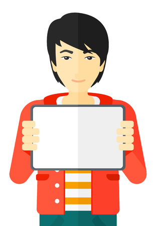 using tablet: An asian man holding a tablet computer vector flat design illustration isolated on white background.