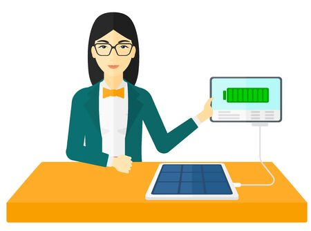woman tablet: An asian woman charging a tablet computer with solar panel vector flat design illustration isolated on white background. Illustration