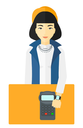 smart woman: An asian woman with smart watch on the wrist making payment transaction vector flat design illustration isolated on white background.