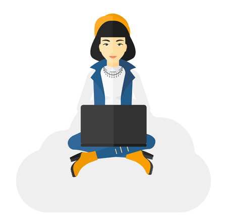 woman laptop: An asian woman sitting on a cloud with a laptop on knees vector flat design illustration isolated on white background. Illustration