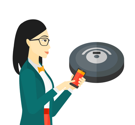 An asian woman controlling robot vacuum cleaner with her smartphone vector flat design illustration isolated on white background.