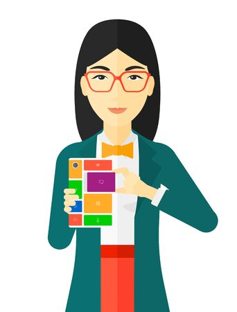 repurpose: An asian woman with modular phone vector flat design illustration isolated on white background.