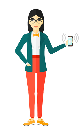An asian woman holding vibrating smartphone vector flat design illustration isolated on white background.