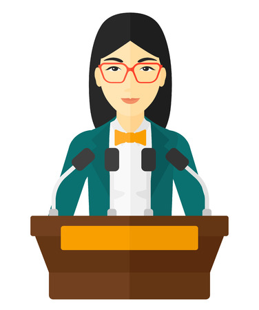 An asian speaker standing on a podium with microphones and speech squares around her vector flat design illustration isolated on white background.