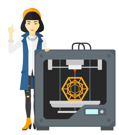 An asian woman pointing forefinger up and standing near 3D printer vector flat design illustration isolated on white background.