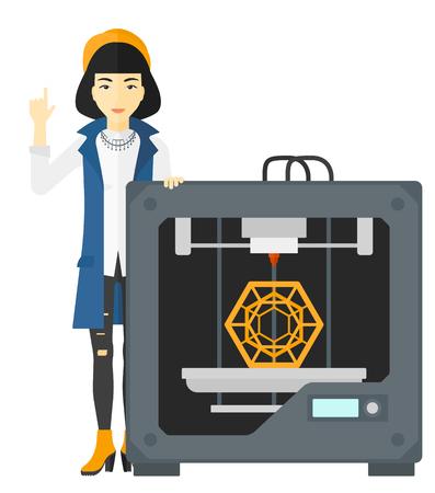 impresora: Una mujer asiática que señala el índice hacia arriba y de pie cerca de la impresora en 3D vector de ilustración diseño plano aislado en el fondo blanco. Vectores