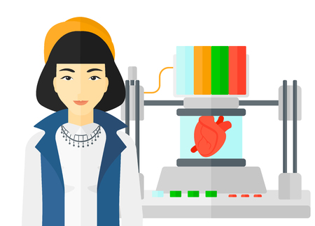 polymerization: An asian woman standing near 3D printer making a heart vector flat design illustration isolated on white background.