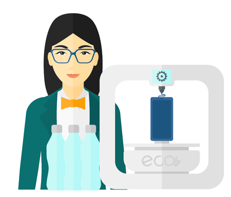 using smartphone: An asian woman standing near 3D printer making a smartphone using recycled plastic vector flat design illustration isolated on white background.