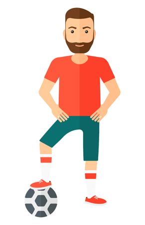 pelota caricatura: Un jugador de f�tbol de pie con bola ilustraci�n vectorial dise�o plano aislado en el fondo blanco.