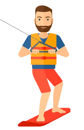 A professional wakeboard sportsman vector flat design illustration isolated on white background.