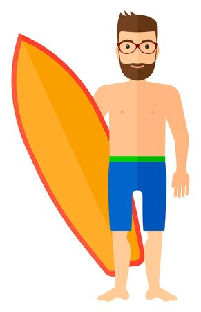 male surfer: A male surfer standing with a surfboard vector flat design illustration isolated on white background. Illustration