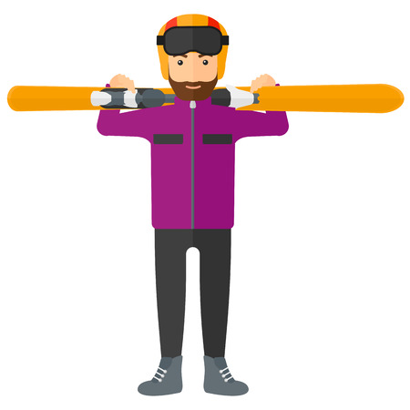 A man carrying skis on his shoulders vector flat design illustration isolated on white background.
