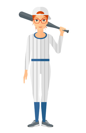 baseball cartoon: A baseball player standing with a bat vector flat design illustration isolated on white background.