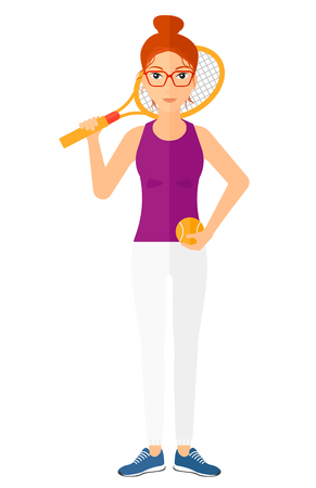A big tennis player holding a tennis racket and a ball vector flat design illustration isolated on white background.