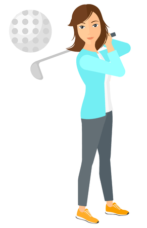 golfer swinging: A golf player hitting the ball vector flat design illustration isolated on white background.