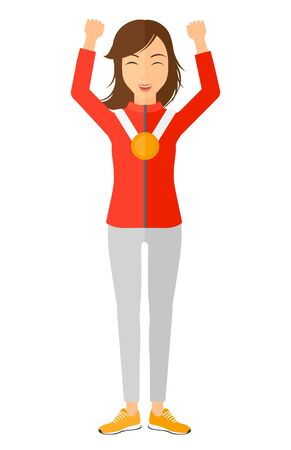 medalist: Athlete with medal standing with hands raised vector flat design illustration isolated on white background.