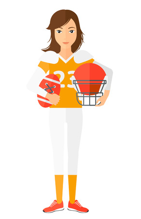 rugby player: A rugby player standing with ball and helmet in hands  vector flat design illustration isolated on white background.