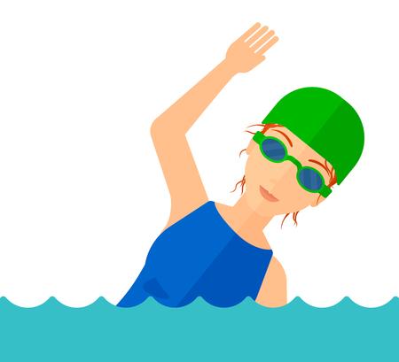 Ein Schwimmer mit Mütze und Brille Ausbildung in Wasser Vektor flache Design-Darstellung auf weißem Hintergrund.