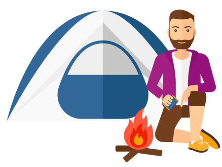 kindle: A hipster man with the beard kindling a fire in camp vector flat design illustration isolated on white background.